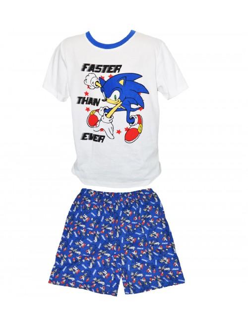 Pijama vara Ariciul Sonic, alb-albastru, copii 3-8 ani