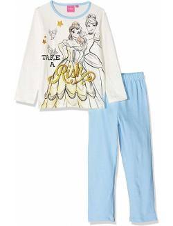 Pijama Printese Disney, alb-bleu, fete 3-6 ani