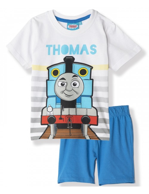 Pijama vara, Locomotiva Thomas, alb - albastru, 3-8 ani