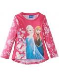 Bluza cu maneca lunga fucsia cu Anna si Elsa-Frozen-OE1755