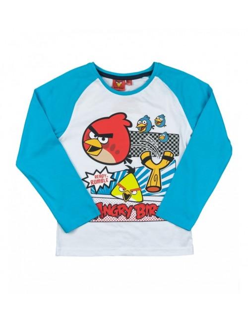 Bluza copii 4 - 10 ani, Angry Birds Rumble, alb - bleu