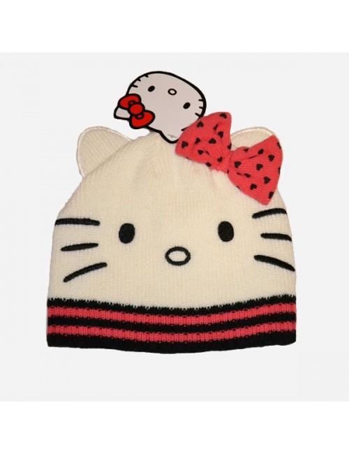 Caciula tricotata fete - Hello Kitty cu fundita