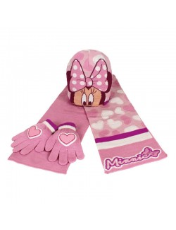 Set iarna: Caciula, fular, manusi Minnie Mouse