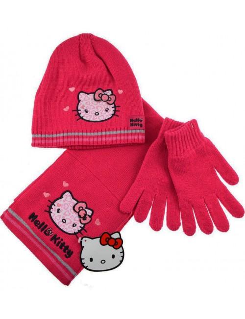 Set iarna: Caciula, fular si manusi- Hello Kitty 4-12 ani