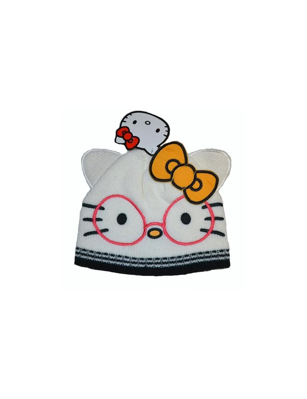 Caciula tricotata Hello Kitty cu ochelari 4-8 ani