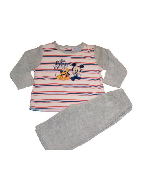 Pijama din catifea cu Mickey si Pluto pentru 6 luni