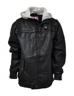 Jacheta din piele ecologica, cu gluga- 7-14 ani