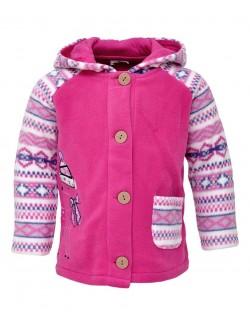 Jacheta roz cu gluga pentru bebe 3-18 luni