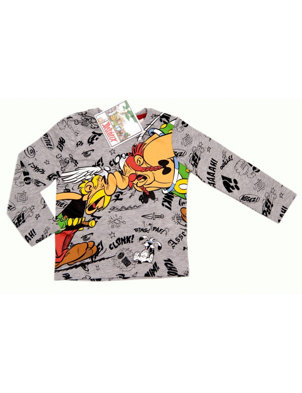 Bluza maneca lunga Asterix si Obelix, gri, 3-8 ani