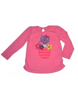 Bluza roz cu pisicuta, copii 6 luni - 3 ani