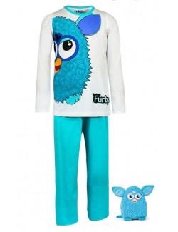 Pijama turcoaz/alb Furby, copii 4 - 10 ani
