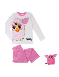 Pijama copii, Furby, roz, maneca lunga