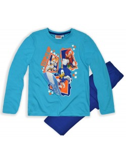 Pijama maneca lunga 3 ani, albastra, Ariciul Sonic