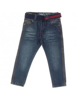 Pantaloni jeans cu curea pentru baieti de 8-14 ani -Tom&Jo