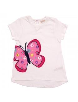 Tricou bebe (3-24 luni) cu fluture aplicat