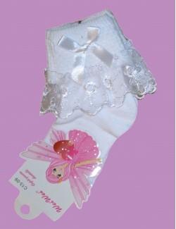 Sosete albe cu dantela pentru fetite de 4-6 ani