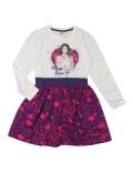 Rochie Violeta maneca lunga alb - violet, copii 6-9 ani