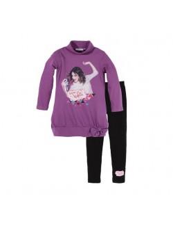 Set bluza si colanti, Violetta, copii 6-12 ani, mov-negru