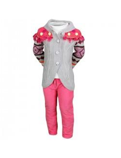 Set haine 3 piese: Pulover, Bluza, Pantaloni captusiti fete 2-6 ani