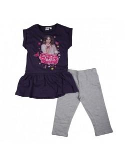 Set Violetta: tricou si colanti, mov/gri, 6-12 ani