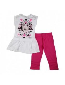 Set haine Violetta: tricou si colanti, copii 6-12 ani, alb-roz