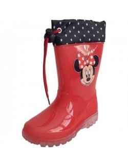 Cizme cauciuc rosii cu siret - Minnie Mouse