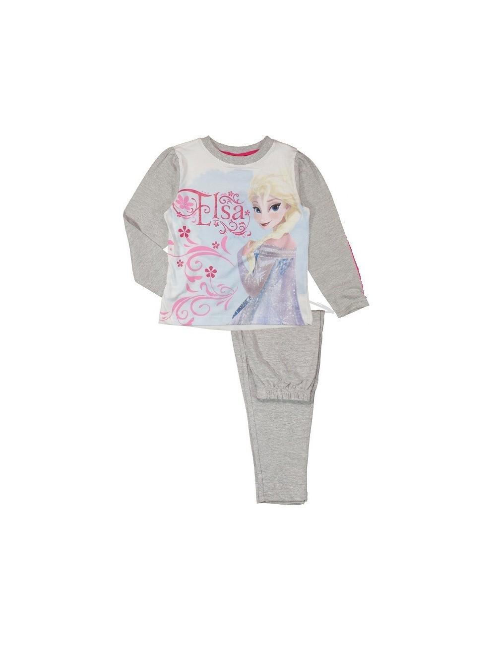 Pijama Elsa - Disney Frozen, gri sau fucsia, 3/4 si 9/-10 ani