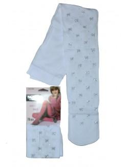 Ciorap pantalon alb 70 DEN cu fundite colorate