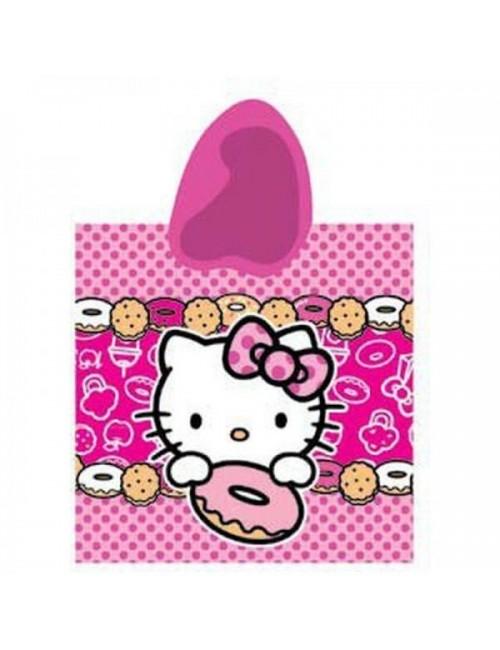 Prosop poncho Hello Kitty, pentru copii, 60 x 120 cm