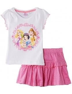 Set Tricou alb si fustita roz, Printese Disney, 3-5 ani