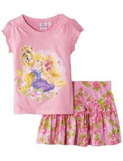 Set Tricou si fustita roz, Printesa Rapunzel, 3-5 ani