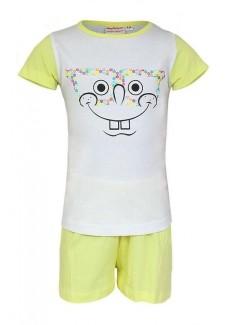 Pijama Sponge Bob, alb-galben, copii 3-8 ani
