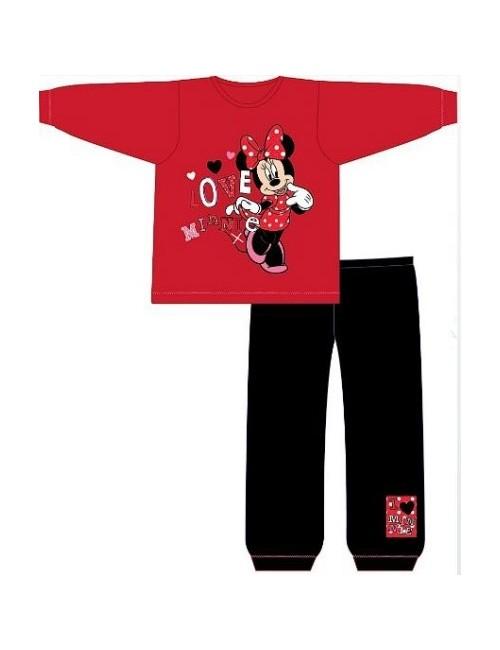 Pijama copii Minnie Mouse, rosu cu negru, 12 luni - 4 ani