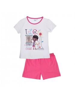 Pijama de vara copii 3 - 6 ani, Dr. Plusica, alb/roz
