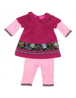 Set haine bebe: Rochita si pantaloni, fucsia, 3-24 luni