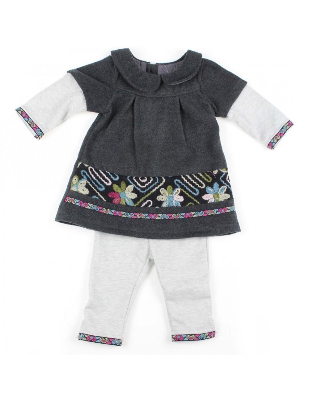 Set haine bebe: Rochie si pantaloni gri, 3-18 luni