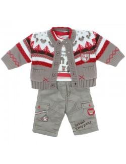 Set haine 3 piese bebe: Cardigan, bluza si pantaloni bej