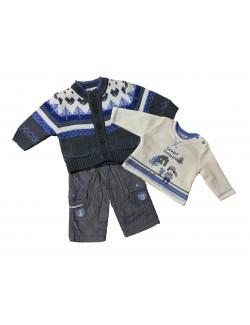 Set haine bebelusi: cardigan, bluza si pantaloni - Gri
