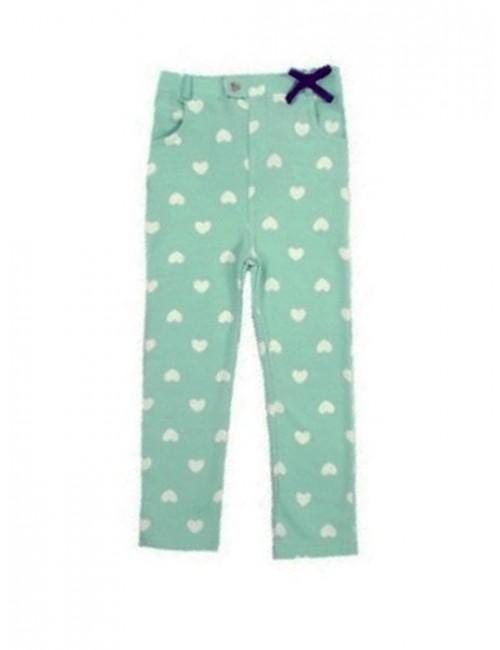 Pantaloni vernil cu inimioare, fetite 0-3 ani