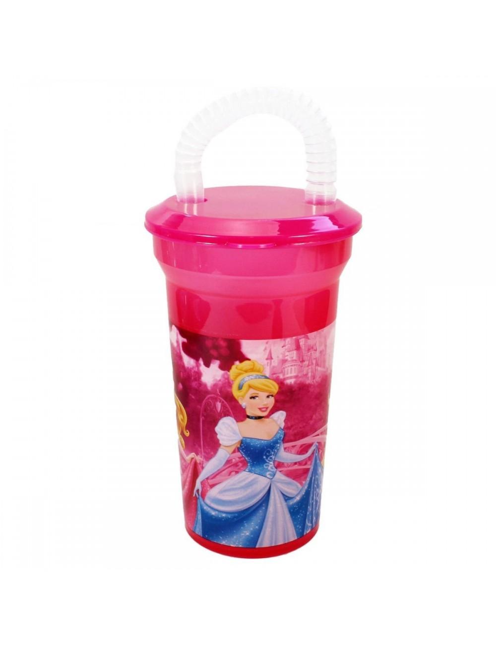 Pahar din plastic fucsia cu pai Disney Princess 400 ml