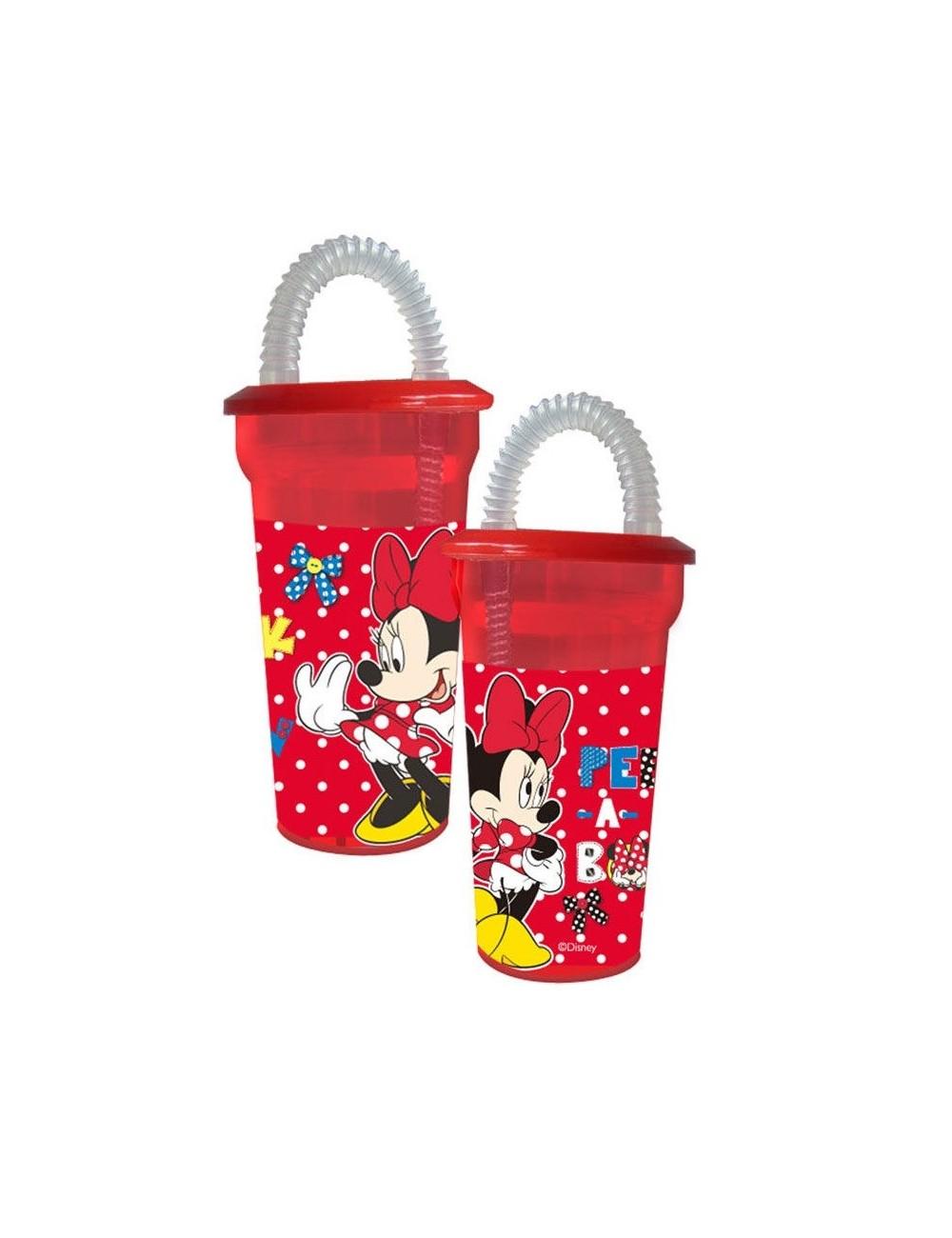 Pahar plastic Minnie Mouse, rosu, cu pai 400 ml