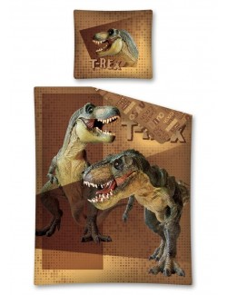 Lenjerie de pat Dinozauri T-Rex, 160 x 200 cm, maro