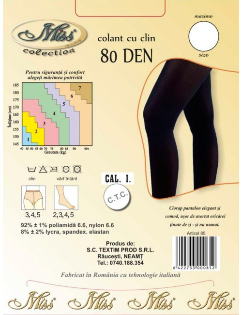 Ciorapi pantalon microfibra 80 Den Miss Collection