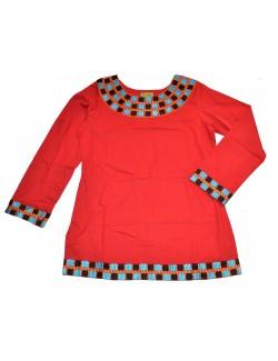 Bluza pentru femei, din bumbac, culoare rosie CH007