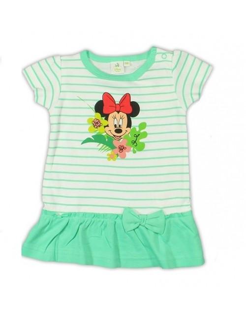 Tricou tunica bebelusi Disney Minnie Mouse - alb-verde