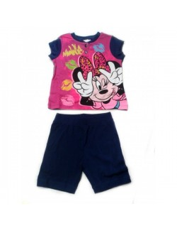 Pijama vara copii, Minnie Mouse, bleumarin - fucsia