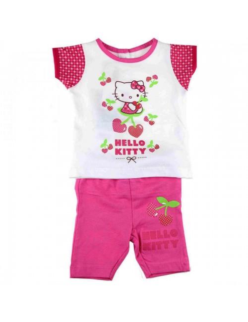 Set haine bebe: Tricou si pantaloni scurti fucsia Hello Kitty HK3412