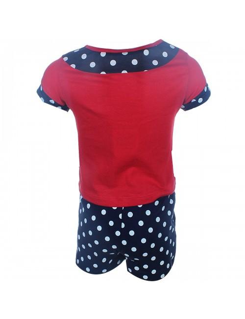 Set haine: Tricou si pantaloni scurti Minnie Mouse, cu buline