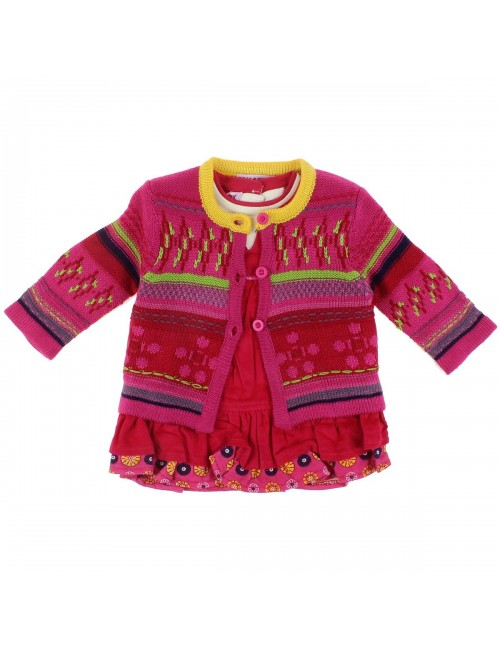 Set haine 3 piese bebe: Cardigan, bluza si sarafan fucsia
