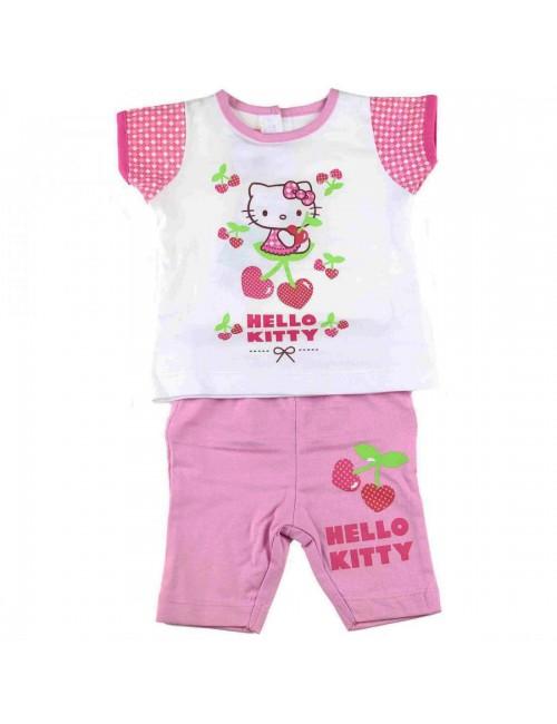 Set haine bebe: Tricou si pantaloni scurti roz Hello Kitty HK3412